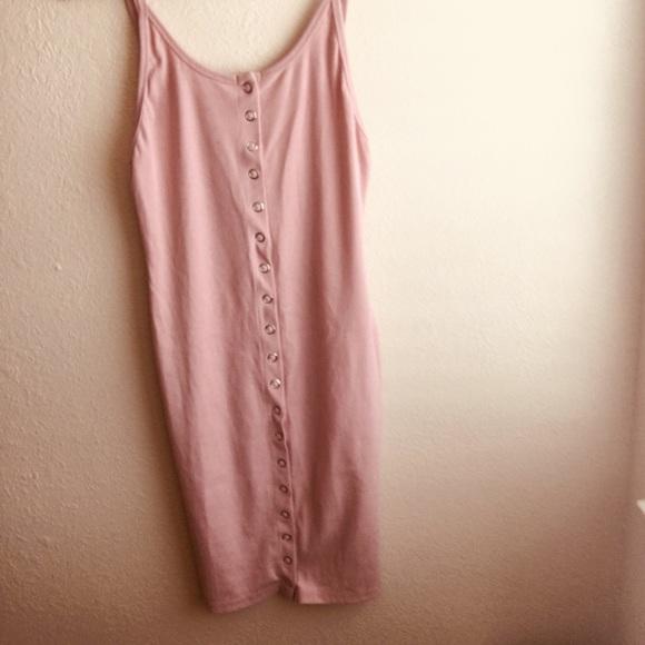 7f50e010bfca93 Pastel Pink sleeveless button down dress